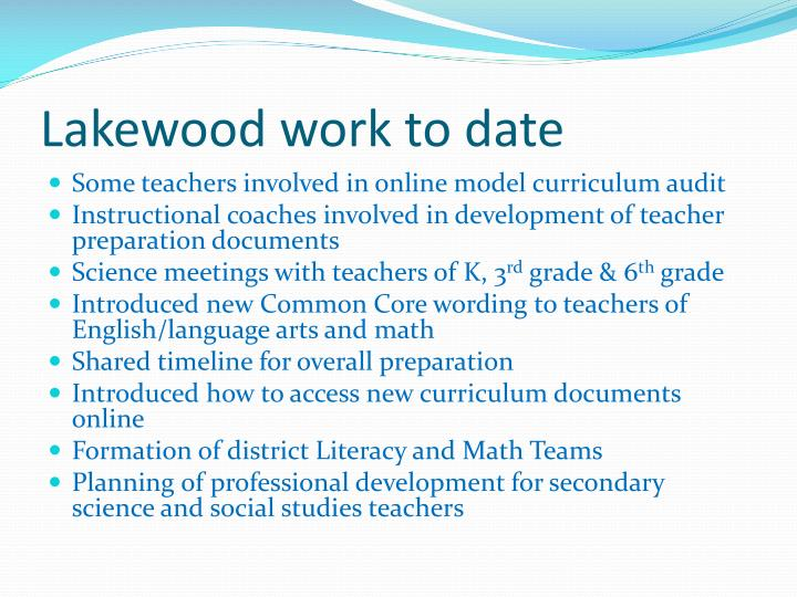 Lakewood work to date