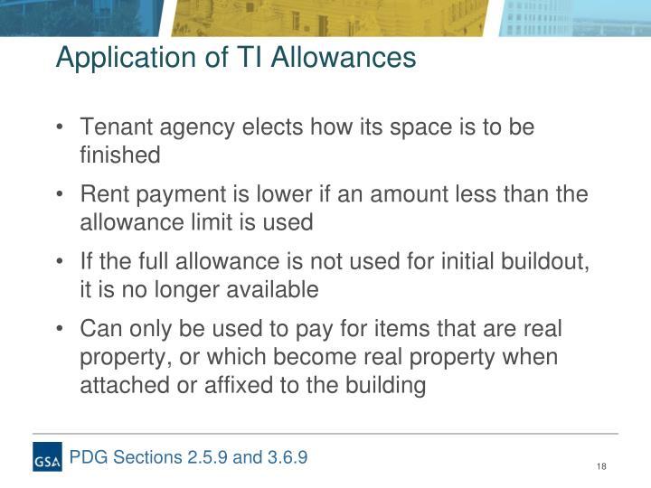 Application of TI Allowances