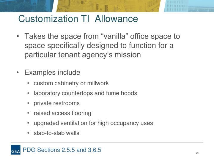 Customization TI  Allowance