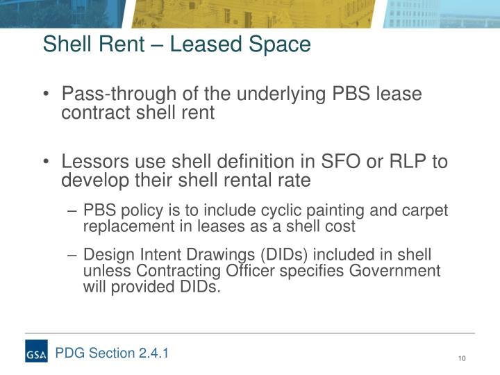 Shell Rent – Leased Space
