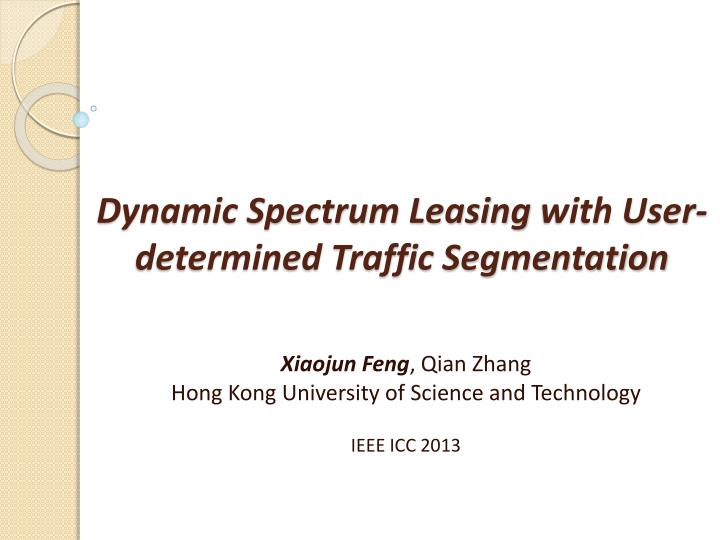 Dynamic spectrum leasing with user determined traffic segmentation