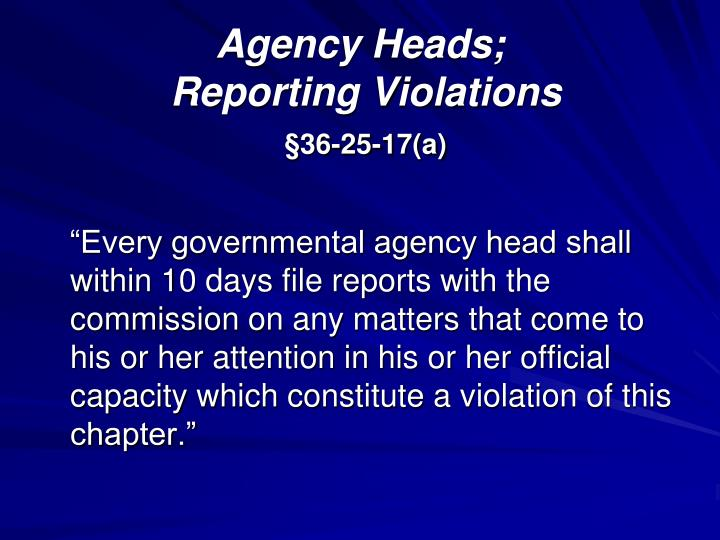 Agency Heads;