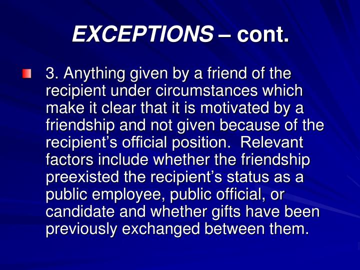 EXCEPTIONS –