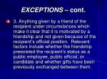 exceptions cont