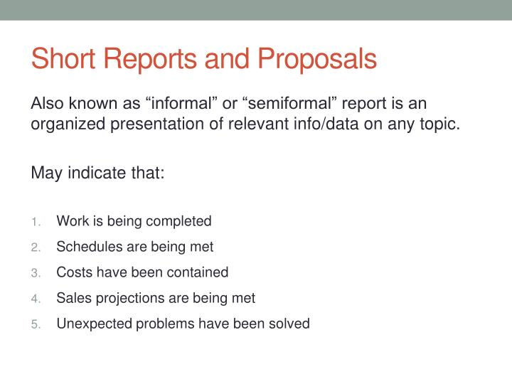 Short Reports and Proposals