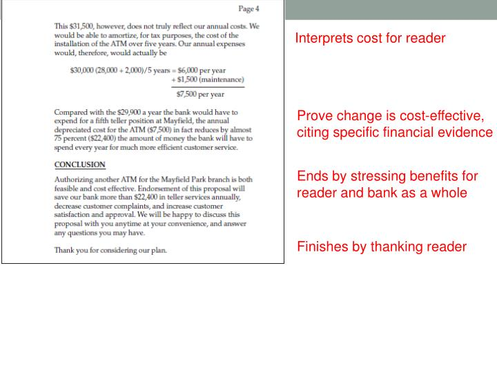 Interprets cost for reader