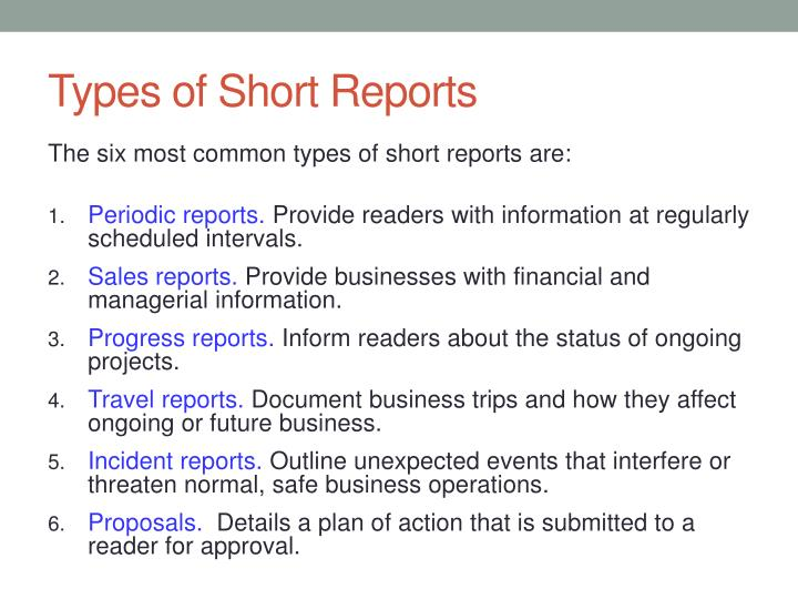 Types of Short Reports