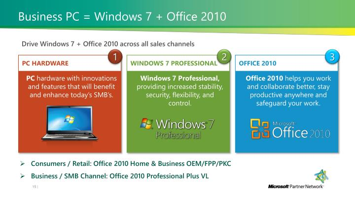 Business PC = Windows 7 + Office 2010