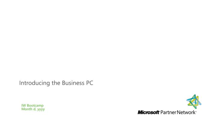 Introducing the Business PC