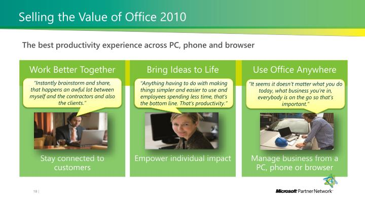 Selling the Value of Office 2010