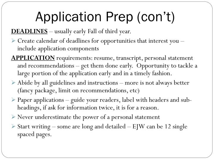 Application Prep (