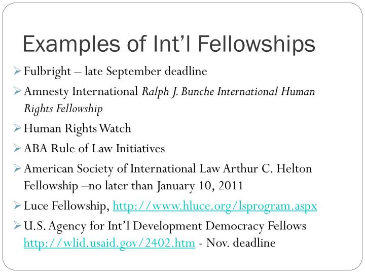 Examples of Int'l Fellowships