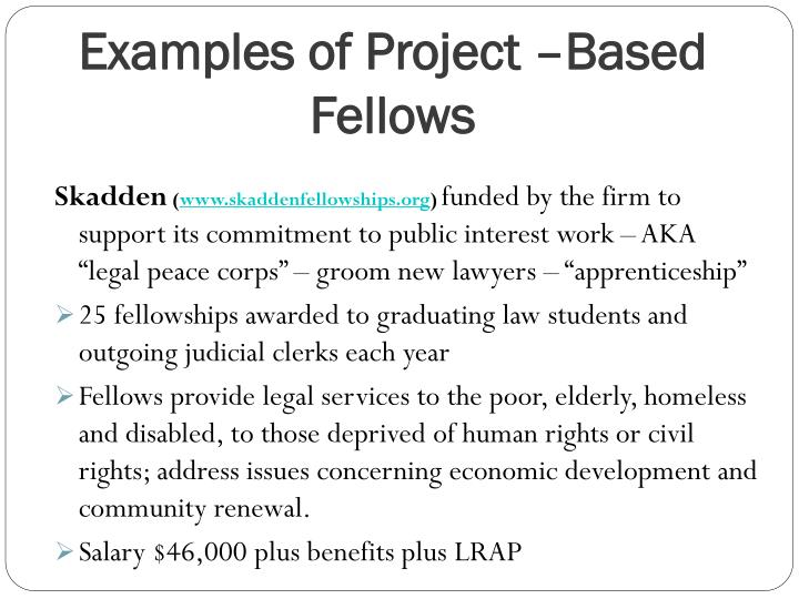 Examples of Project –Based Fellows