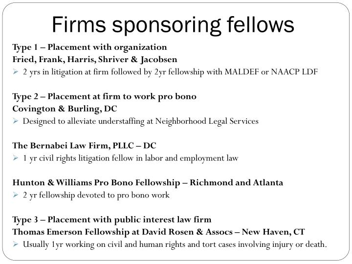Firms sponsoring fellows