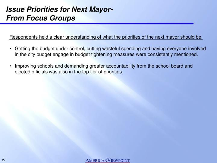 Issue Priorities for Next Mayor-