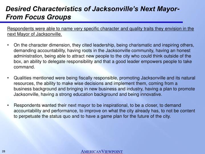 Desired Characteristics of Jacksonville's Next Mayor-