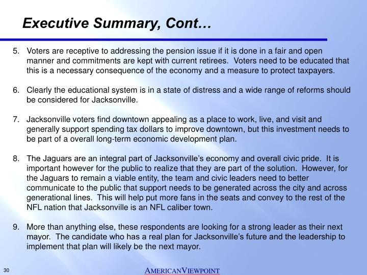 Executive Summary, Cont…