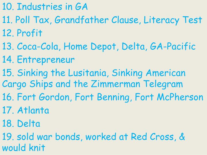 10. Industries in GA
