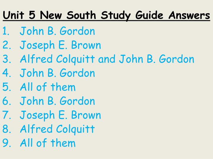 Unit 5 new south study guide answers