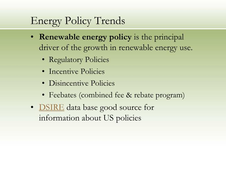Energy policy trends