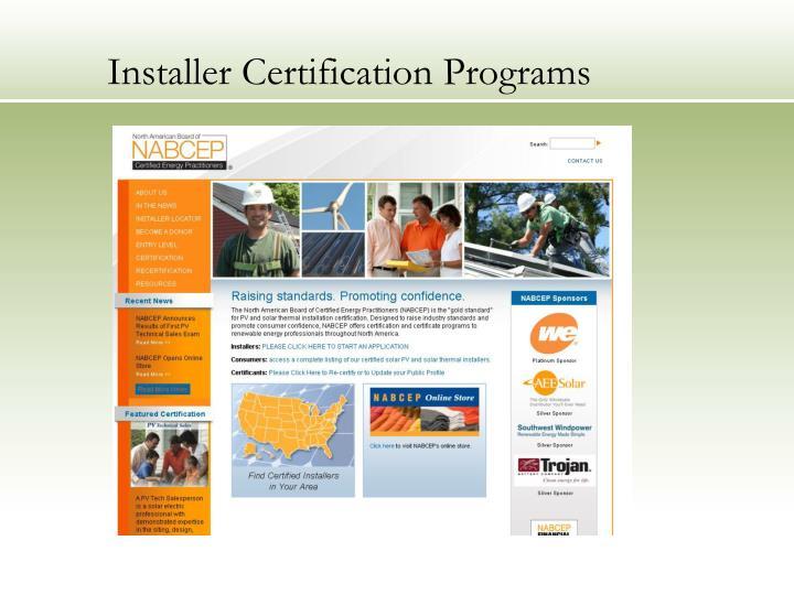 Installer Certification Programs