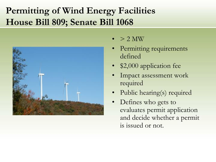 Permitting of Wind Energy Facilities
