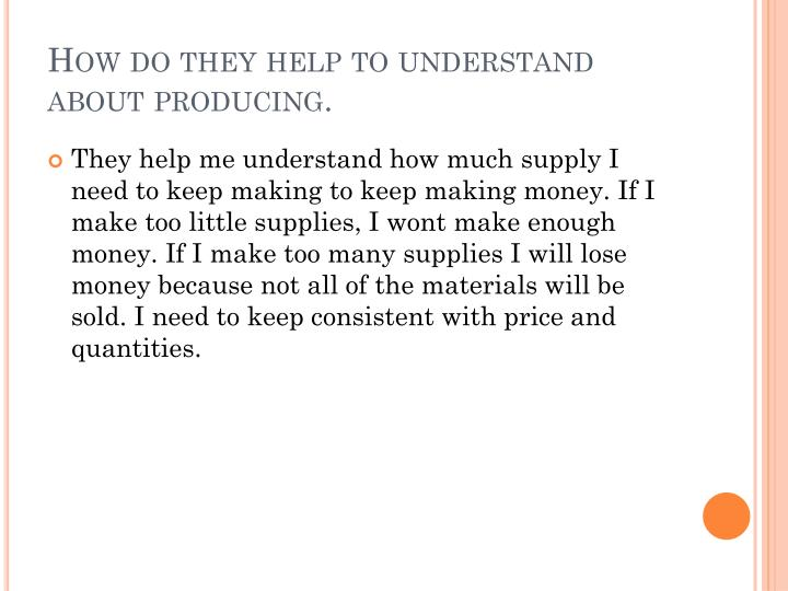 How do they help to understand about producing.