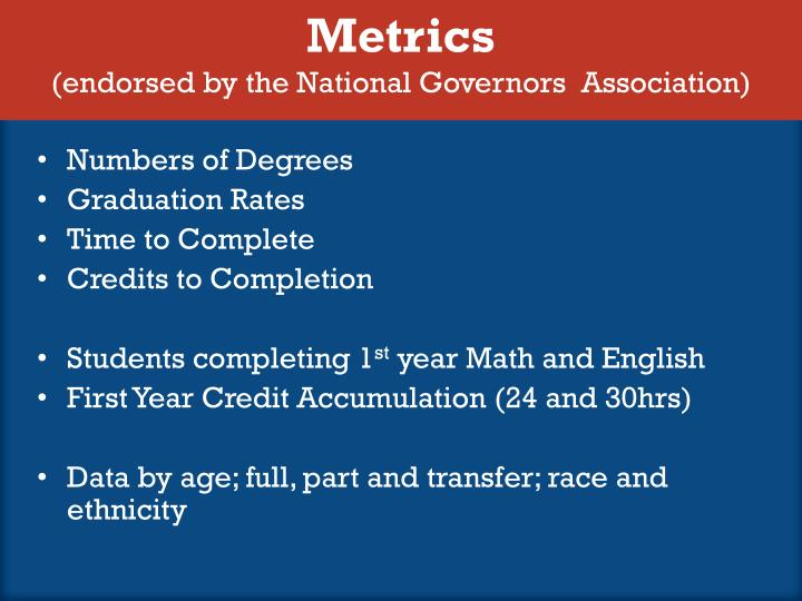 Metrics endorsed by the national governors association
