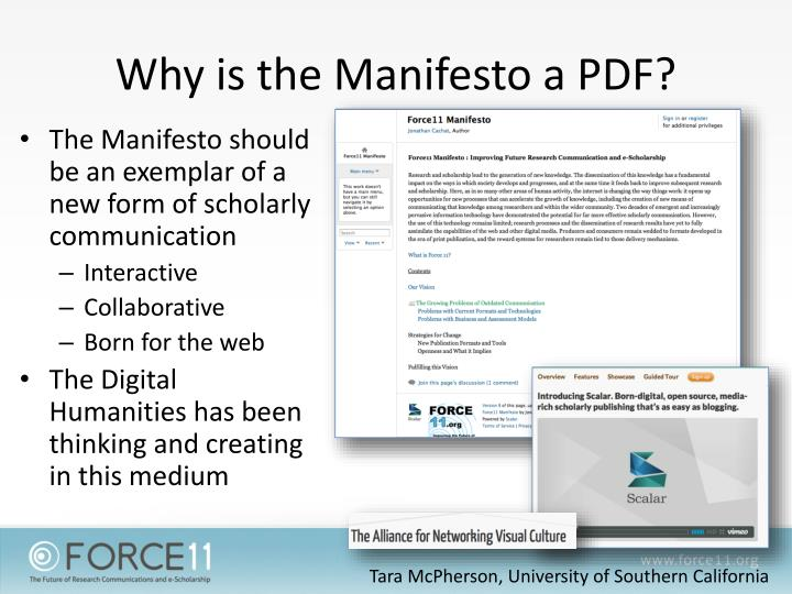 Why is the Manifesto a PDF?