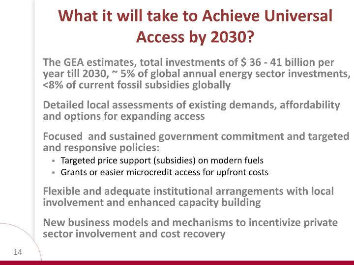 What it will take to Achieve Universal Access by 2030?