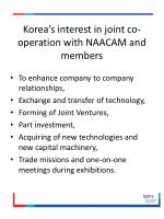 korea s interest in joint co operation with naacam and members