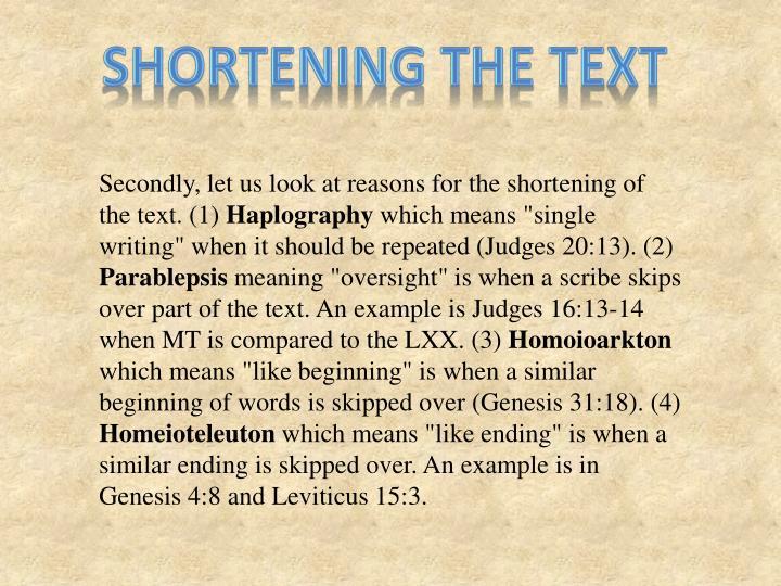 Shortening the text