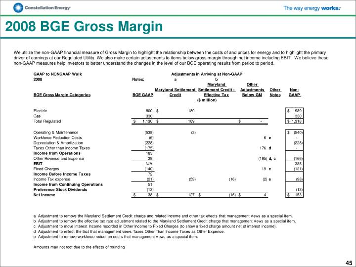 2008 BGE Gross Margin