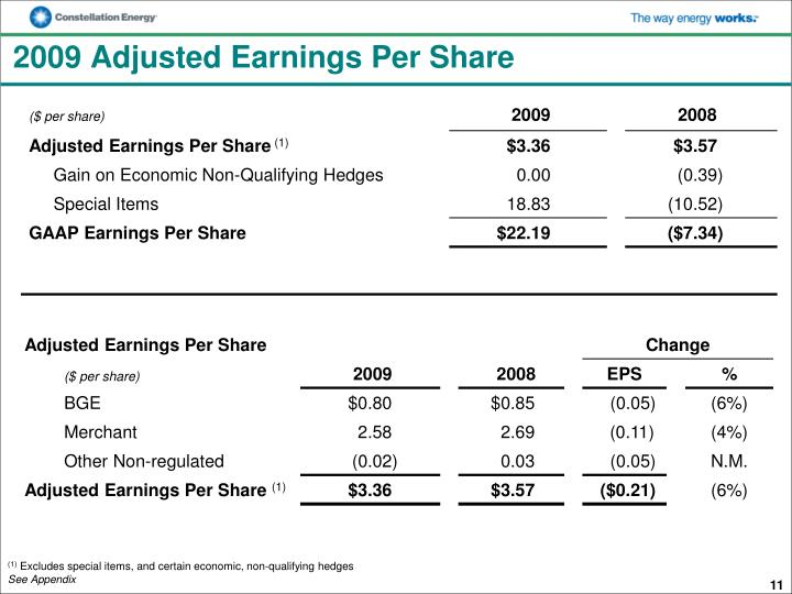 2009 Adjusted Earnings Per Share
