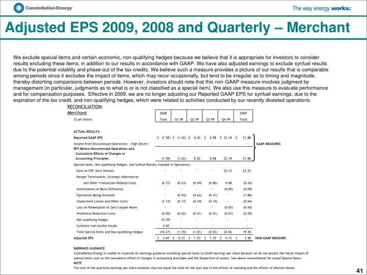 Adjusted EPS 2009, 2008 and Quarterly – Merchant