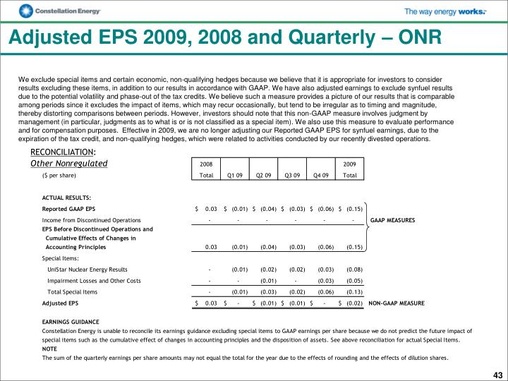 Adjusted EPS 2009, 2008 and Quarterly – ONR