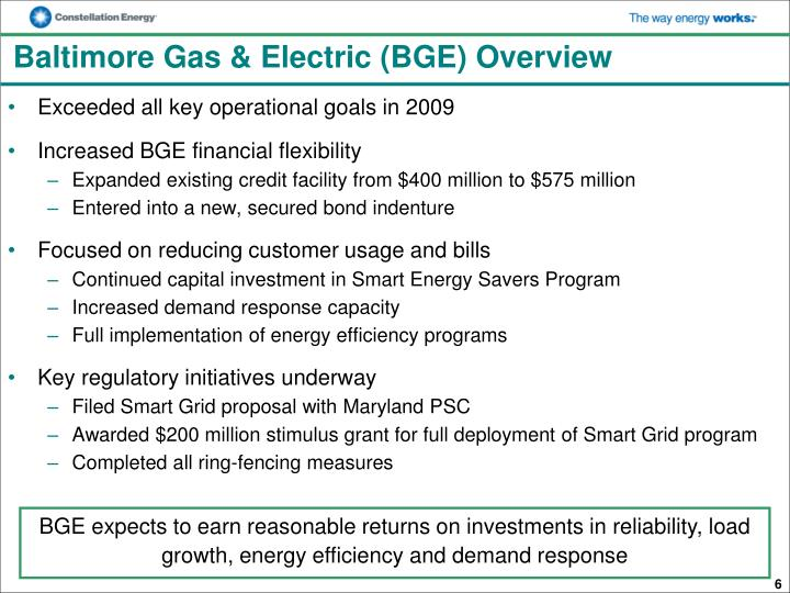 Baltimore Gas & Electric (BGE) Overview