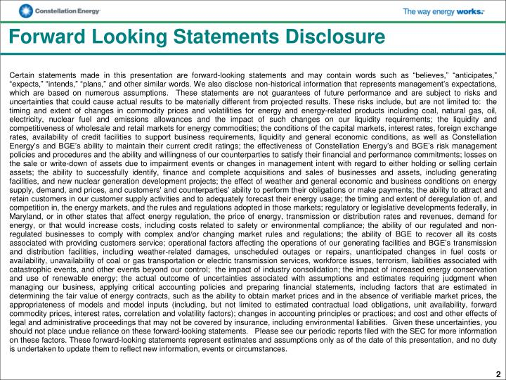Forward looking statements disclosure