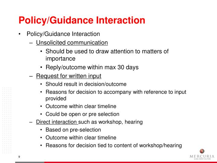 Policy/Guidance Interaction