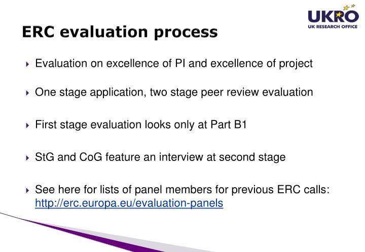ERC evaluation process