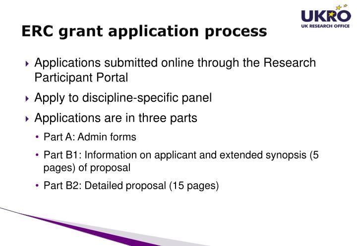 ERC grant application process