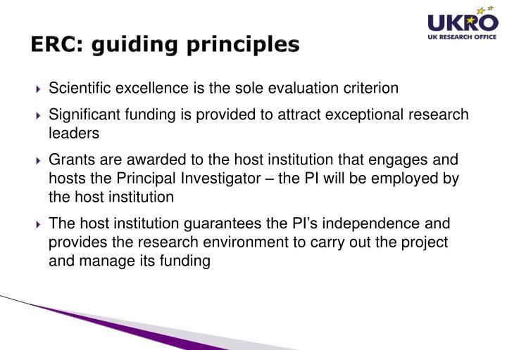 ERC: guiding principles