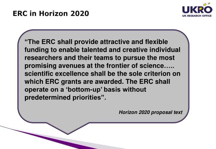 ERC in Horizon 2020