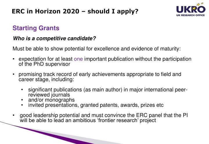 ERC in Horizon 2020 –