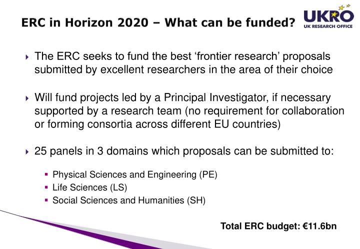 ERC in Horizon 2020 – What can be funded?