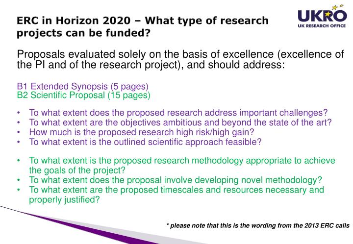 ERC in Horizon 2020 – What type of research projects can be funded?
