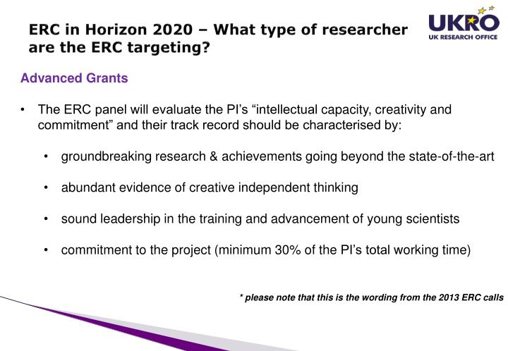 ERC in Horizon 2020 – What type of researcher are the ERC targeting?