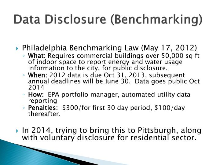Data Disclosure (Benchmarking)