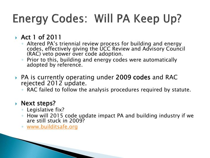 Energy Codes:  Will PA Keep Up?