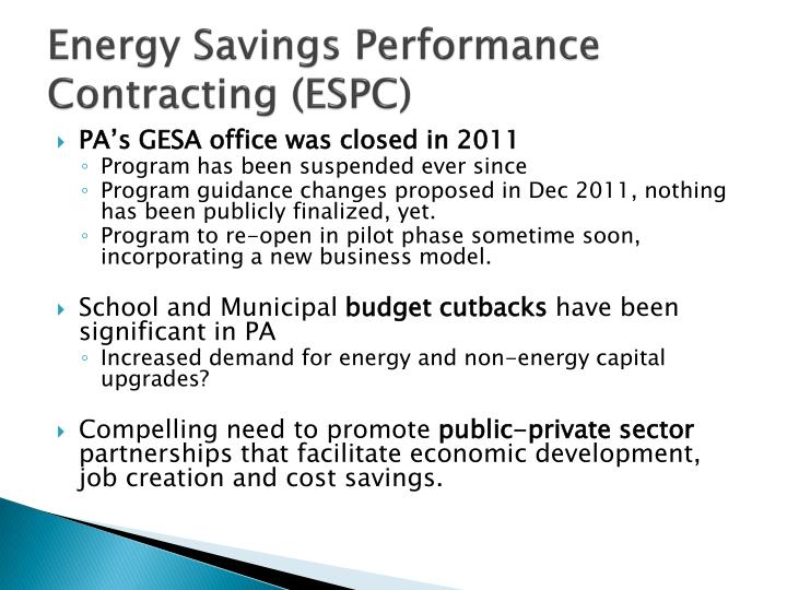 Energy Savings Performance Contracting (ESPC)